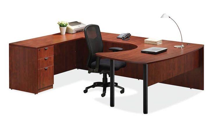 Arc Top U Shaped Desk Cherry