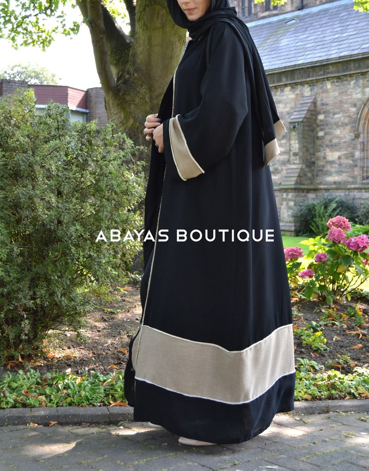 BLACK & CREAM LINEN WITH PEARL LACE ABAYA
