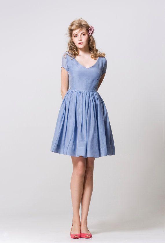 Blue Cotton Dress by Mrs Pomeranz by mrspomeranz on Etsy, £245.00