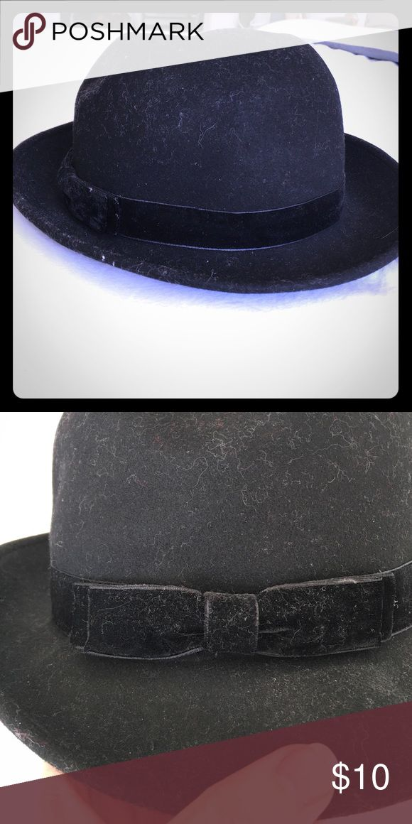 Black bowler hat, NWOT Black bowler hat from H&M, never worn but no tags on it. Black velvet ribbon with small bow detail H&M Accessories Hats