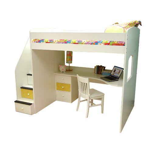 Utica Full Dorm Loft Bed with Stairs   Wayfair