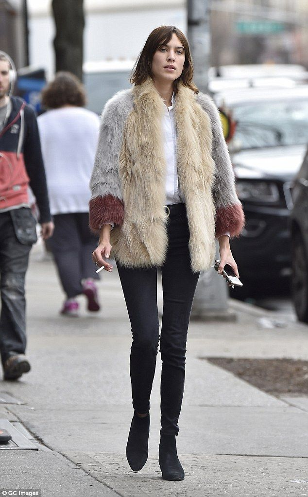 Alexa Chung cuts a retro figure in 70s inspired fur coat