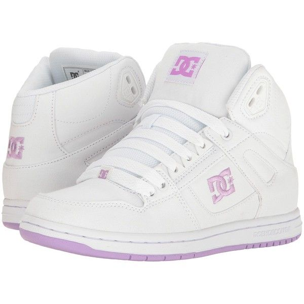 DC Rebound High TX (White/Lilac) Women's Skate Shoes (€45) ❤ liked on Polyvore featuring shoes, skate shoes, white shoes, high top skate shoes, lilac shoes and eyelets shoes