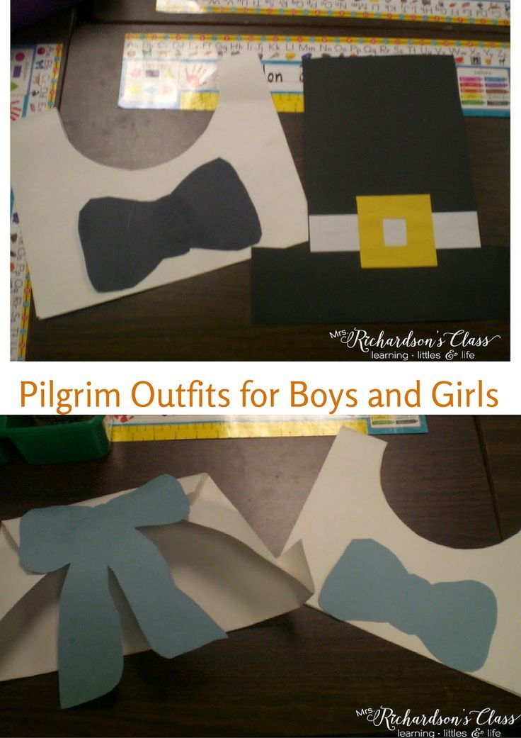 Pilgrim Costumes for Boys and Girls plus a cute pilgrim writing activity! Great blog post!