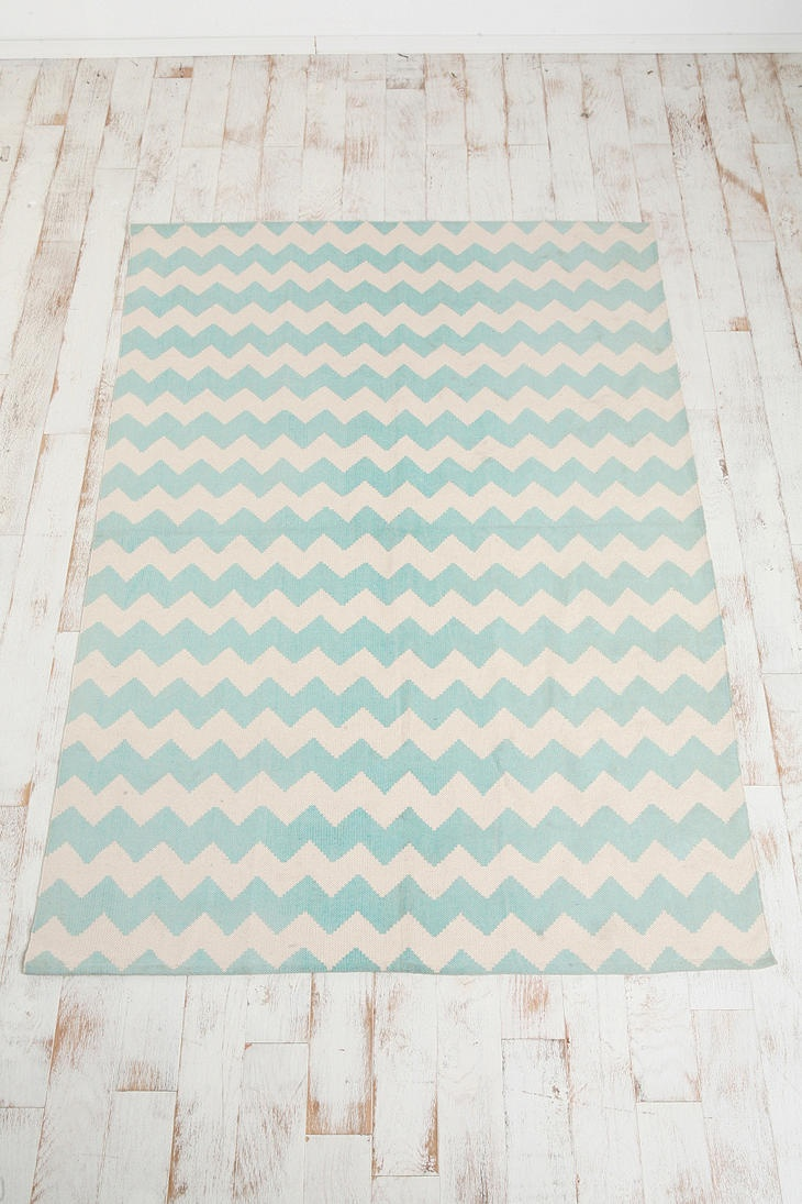 Zigzag Chevron Printed Rug 5' x 7' $74 in blue, green/teal, yellow and grey