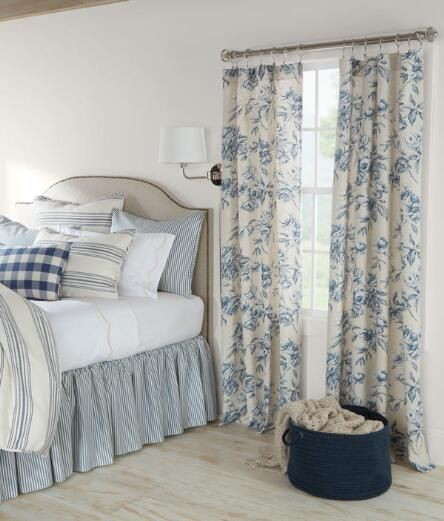 This favorite flower is lush and lovely on a light-filtering linen blend that offers the beauty of softened light. (Country Curtains Camellia Floral Rod Pocket Curtains. Available in Blue Jay, Dove and Robin.)