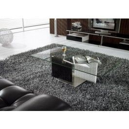 Modrest CJ096A Modern Black and White Glass Coffee Table -