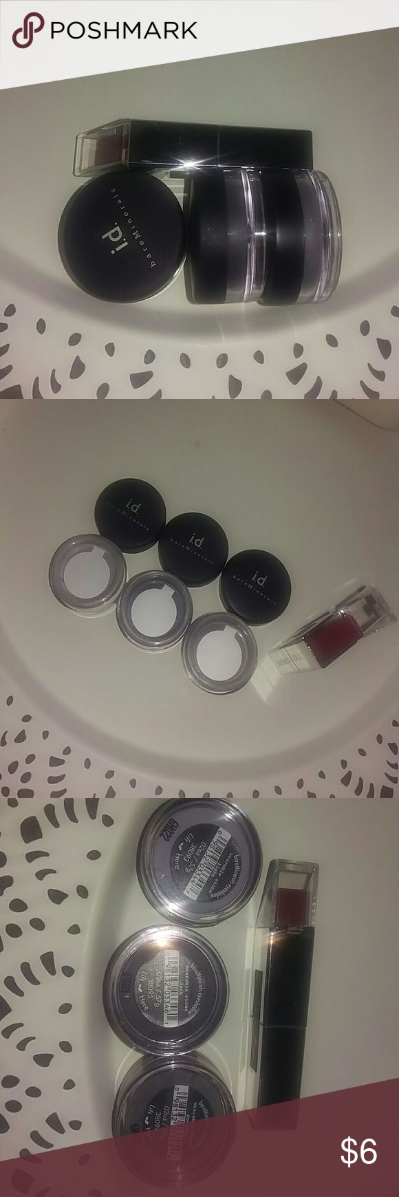 """ID bare minerals 3 shadow set with lipstick gift 3 new/sealed bare minerals eyeshadow singles in """"Wearable Stone"""" light, medium and dark, which is a silver/gray toned color.  Accompanied is a """"Rouge"""" colored, angle shaped lipstick by Stiks Cosmetiks. This was only tested with a small swatch on the hand. bareMinerals Makeup Eyeshadow"""