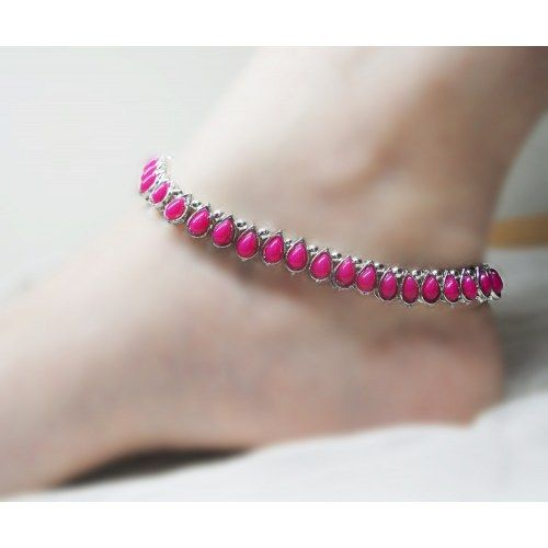 Pink & Silver anklet - Online Shopping for Anklets by Heartstrings by Jyoti Sudhir