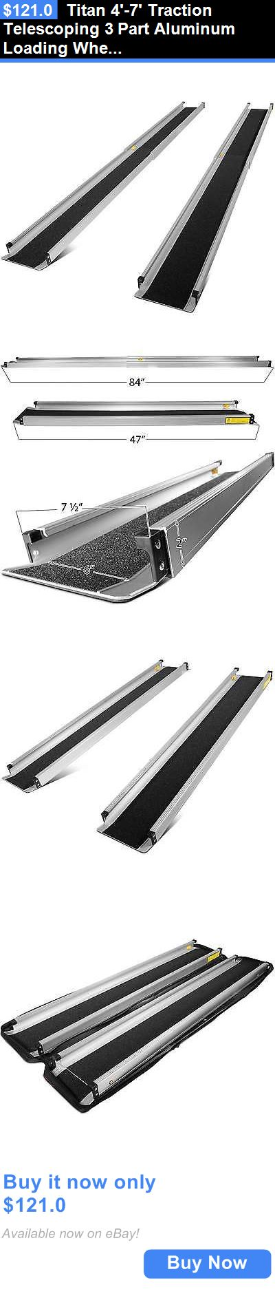 Access Ramps: Titan 4-7 Traction Telescoping 3 Part Aluminum Loading Wheelchair Ramp W/ Bag BUY IT NOW ONLY: $121.0