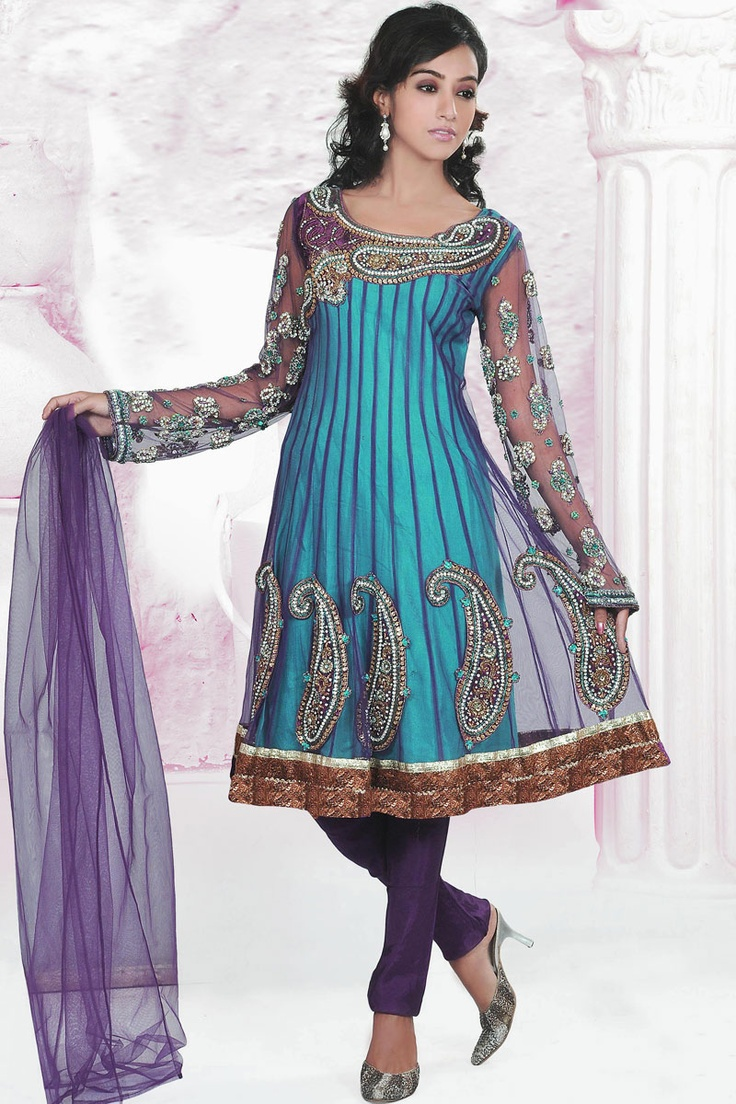 Love the colors. Chiffon Anarkali Salwar Kameez