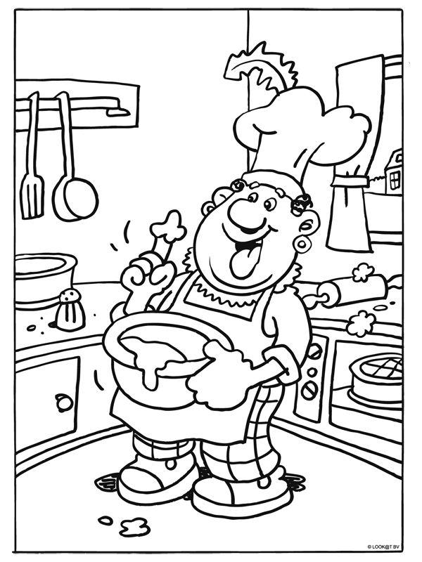 kleurplaat zwarte piet in de keuken kleurplaten nl