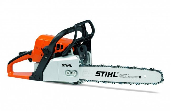 Stihl petrol Chainsaw, ideal for landscaping use around businesses at Sheepbridge Industrial Estate in Chesterfield.