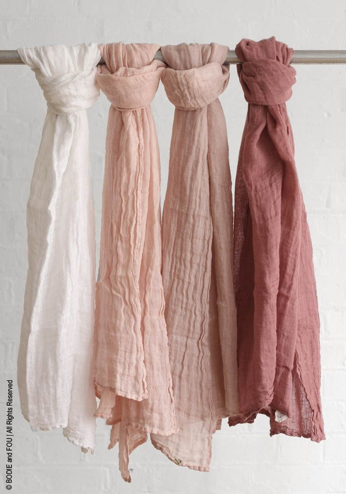 Linen scarf — Bodie and Fou - Award-winning inspiring concept store #linen #pink #nude #pastel #blush #fashion #scarves #musthave #summer #love #mothersday