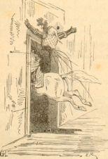 Histoire France gravure mort Louis III- 8) LOUIS III: Un règne très court: Louis III meurt le 5 aout 882, âgé d'environ 18 ans. Il se fracasse le crâne contre le linteau d'une porte trop basse et tombe de cheval alors qu'il poursuivait la fille d'un certain GERMOND, courue se réfugier dans la maison de son père. Son corps fut inhumé à St-Denis. Son frère Carloman devint le seul roi de Francie occidentale.