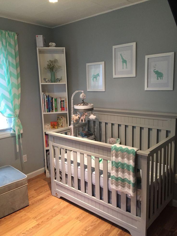 Neutral Mint Grey Safari Nursery Baby Room Boy Or Girl