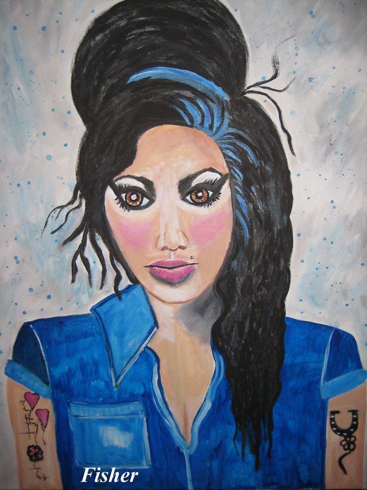 Amy Winhouse 24 x 18 acrylique par artiste Louise Fisher Sanscartier
