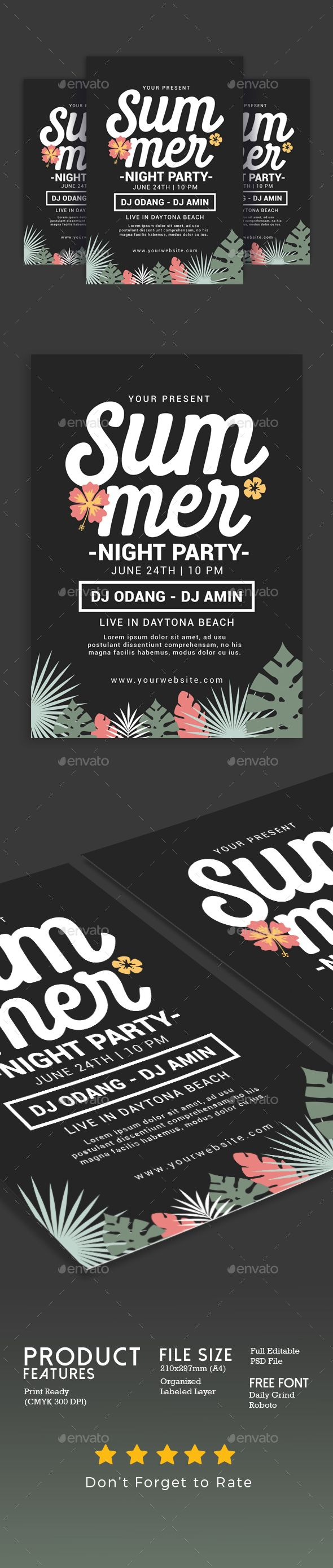#Summer Night #Party - Events #Flyers Download here: https://graphicriver.net/item/summer-night-party/20300952?ref=alena994
