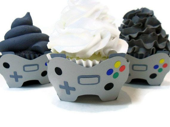 Video Game Cupcake Wrappers  Set of 12 by cakeadoodledoo on Etsy, $18.00