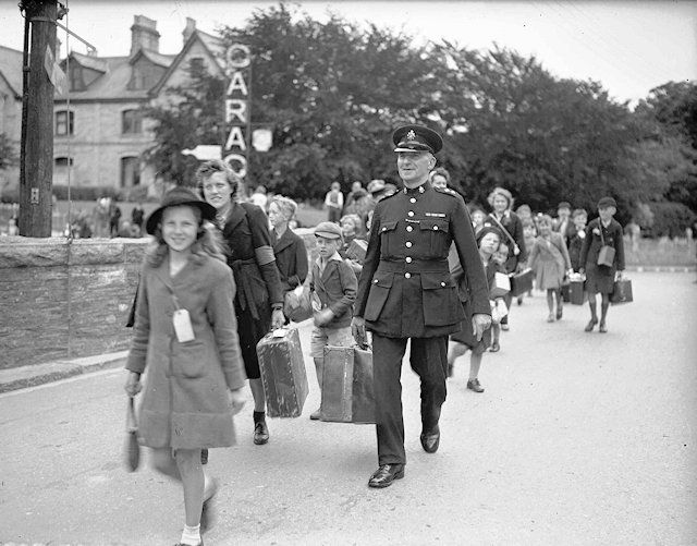 WW2 Evacuees from Epsom & Ewell being escorted by Inspector JH Tucker from Wadebridge station, Cornwall