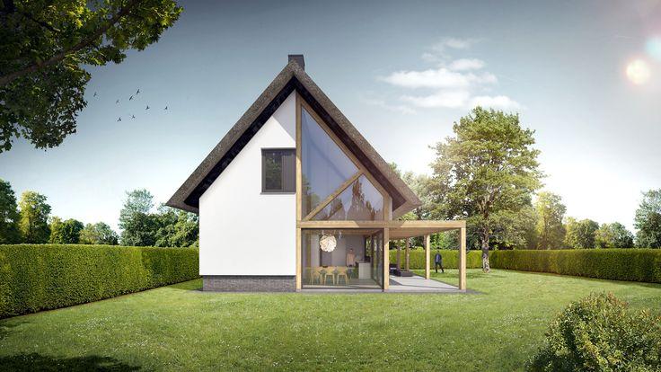 Ontwerp voor een nieuwbouw woning met rieten kap, eikenhouten spanten, aluminium puien en veranda in Schijf.