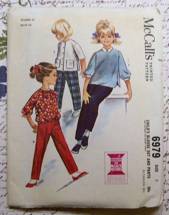 McCalls 6979 Blouse Set & Pants Helen Lee Vintage 1960s Sewing Pattern Childs Size 2