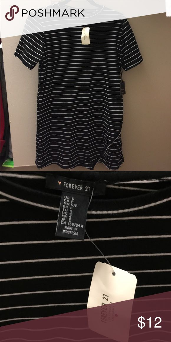 Striped T Shirt Dress with Asymmetrical Hem Black and white striped with cute asymmetrical hem. NWT, perfect condition. Forever 21 Dresses Mini