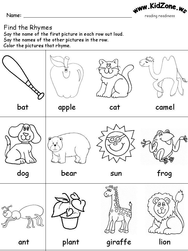 Rhyming worksheet Rhyming worksheet, Jolly phonics