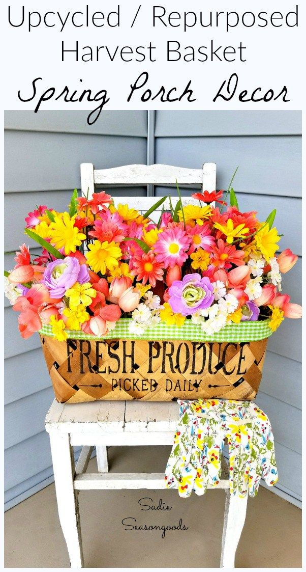 Want STUNNING decor for your porch this Spring and Summer? Repurpose a harvest basket from the thrift store into a gorgeous way to hold and display beautiful flowers. And the best part is that the ribbon is interchangeable! No matter the flowers you display, your ribbon will coordinate. Get all the upcycling details from Sadie Seasongoods at www.sadieseasongoods.com
