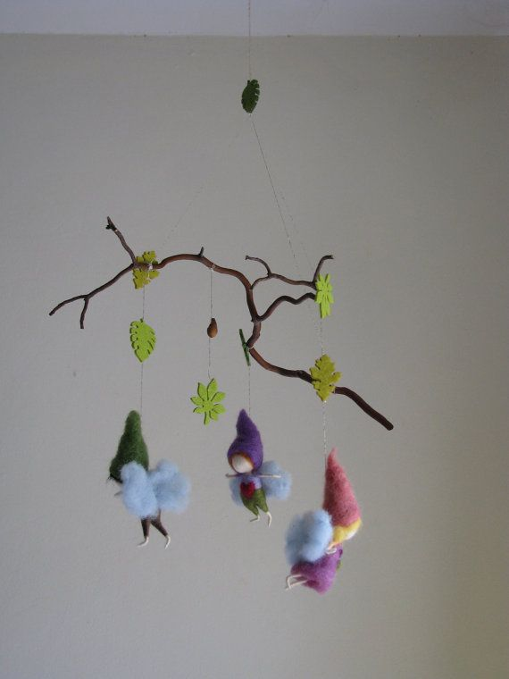 Needle felted forest mobile waldorf inspired por Made4uByMagic