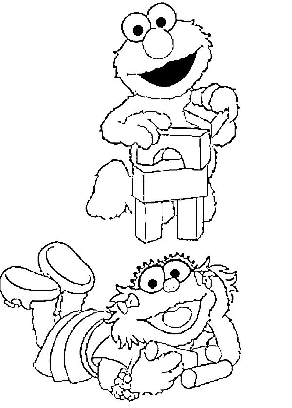 Elmo And His Friends Were Playing With Coloring Page