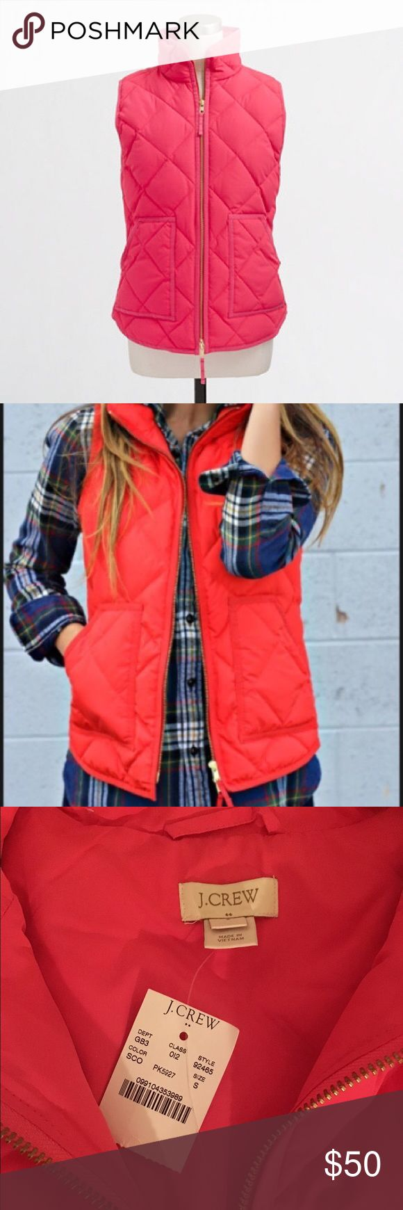 💘HP💘 J. Crew quilted puffer vest in coral - NWT! J.Crew quilted puffer vest in seaside coral - NWT!! The first stock photo shows the same vest in a more reddish hue for reference, but I am selling the coral one as shown in the other 3 photos. Size small. Product details: Down-filled poly; hits at hip; standing collar; zip closure; patch pockets with hidden snap closure. Perfect transitional piece for Spring! Smoke-free home 😊 J. Crew Jackets & Coats Vests