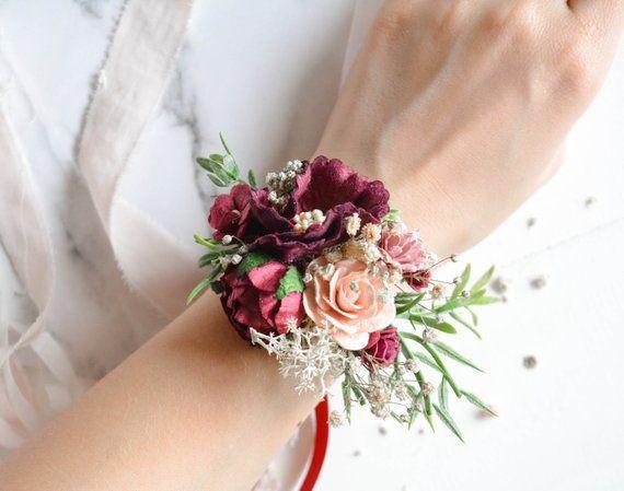 Burgundy Flower wrist corsage, Floral wrist corsage ...
