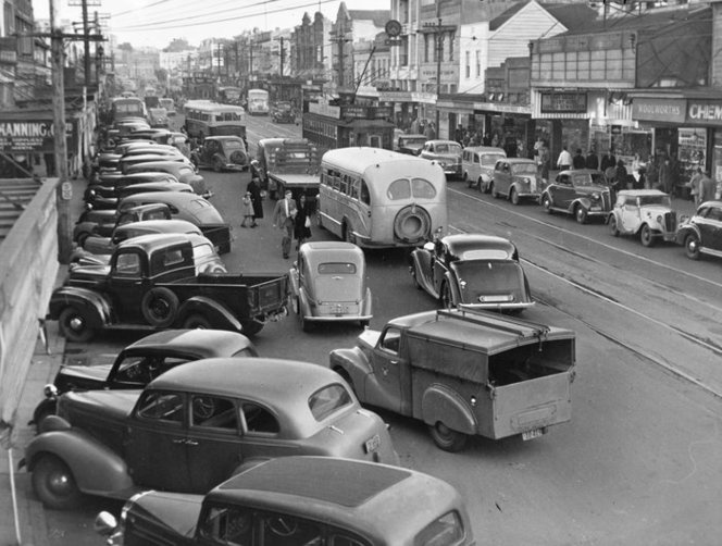 Traffic On Broadway Newmarket Auckland Ca 1950 New