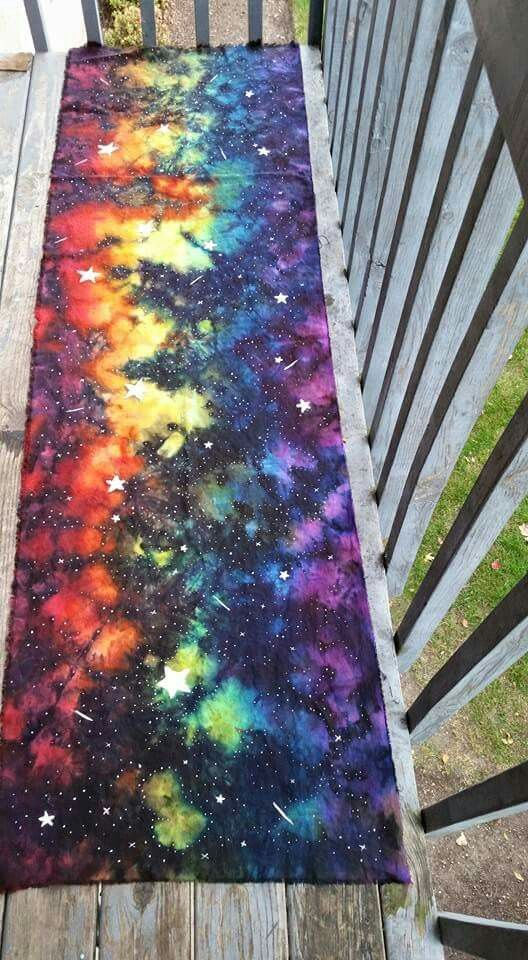 Rainbow Galaxy liquid ice dyed linen ring sling                                                                                                                                                      More