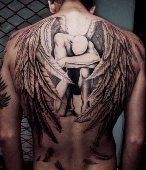 Wings Back Tattoos For Men