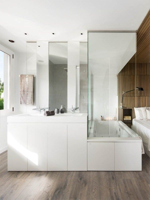 Apartment white bathroom stoarge ideas on wooden floor modern bedroom with bath incredible apartment design for book lovers