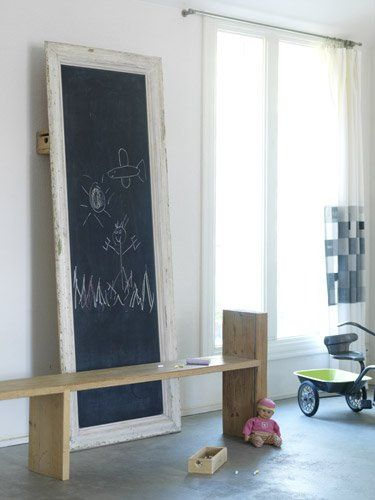 """Large chalkboard display- wall mount or lean against wall from floor.  Nod to """"old school."""""""