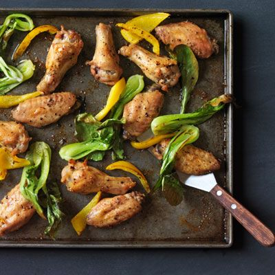 Salt-and-Pepper Chicken Wings with Bok Choy and Peppers ~ healthy ...