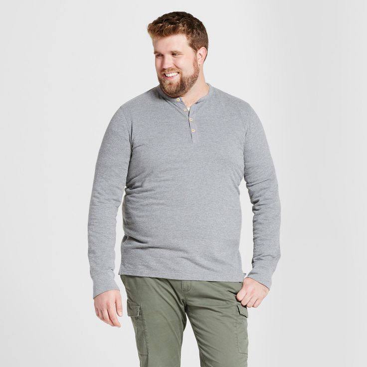 Men's Big & Tall Standard Fit Long Sleeve Micro-Waffle Henley Shirt - Goodfellow & Co Heather Gray 4XB