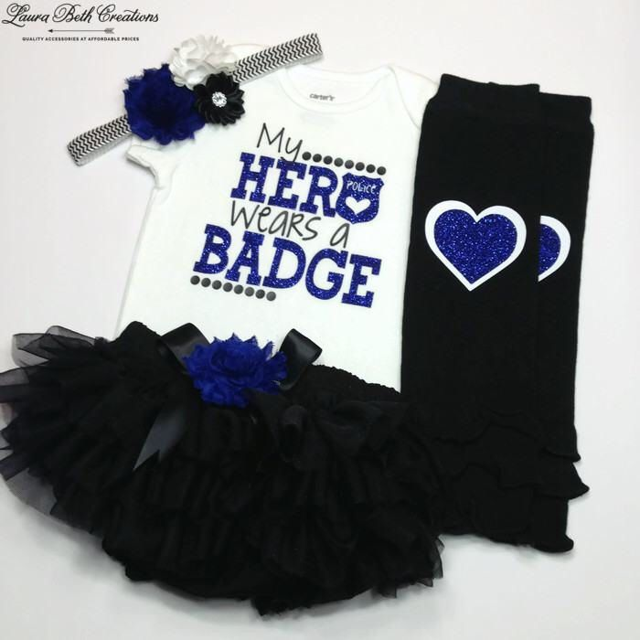 My Hero Wears a Badge Outfit, Baby Police Outfit, Thin Blue Line, Back the Blue Outfit, Baby Photo Prop, Baby Girl Outfit, Blue Lives Matter by LauraBethCreations on Etsy https://www.etsy.com/listing/504959376/my-hero-wears-a-badge-outfit-baby-police