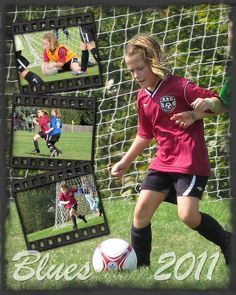 girls sports scrapbook pages | Fall Soccer Girl poster. The Blues team (who aren't blue...) 2011