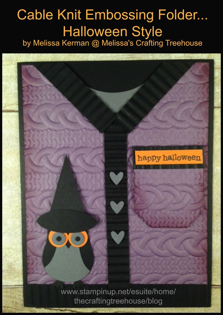 DIY, handmade, halloween, sweater card using the Cable Knit embossing folder, owl punch and Teeny Tiny Wishes Stamp Set. Project by Melissa Kerman, Stampin' Up Demonstrator.