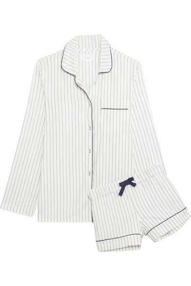 Three J NYC - Phoebe Striped Cotton-flannel Pajama Set - White - medium