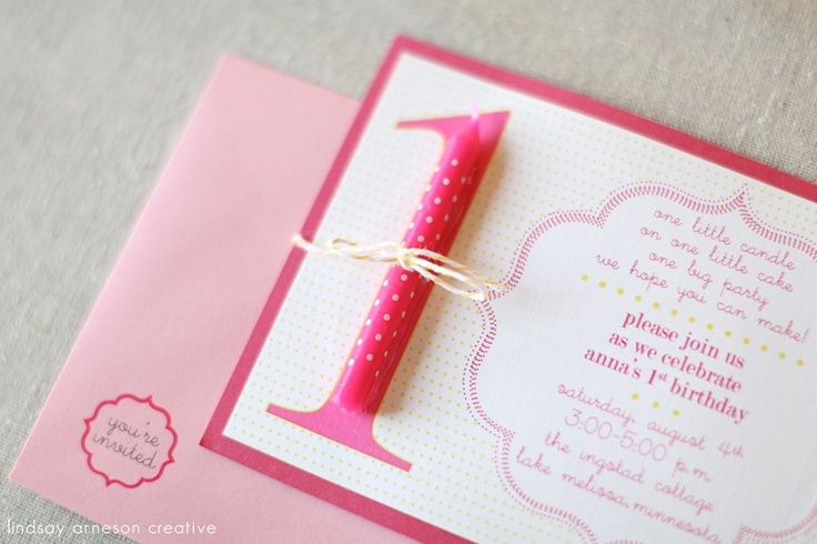 kids birthday invitations – 1 year! – invitations & stationery, pink, candle