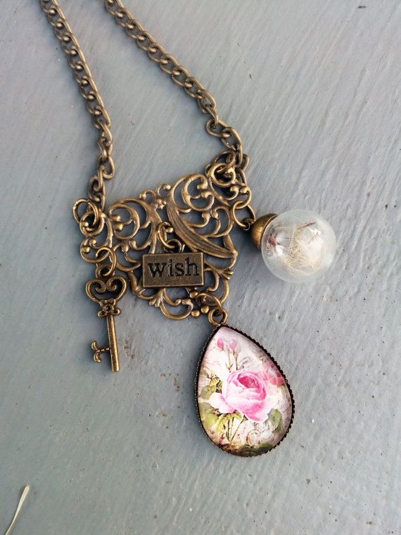 Romantic necklace with real dried by ManthaCreaMiniatures on Etsy