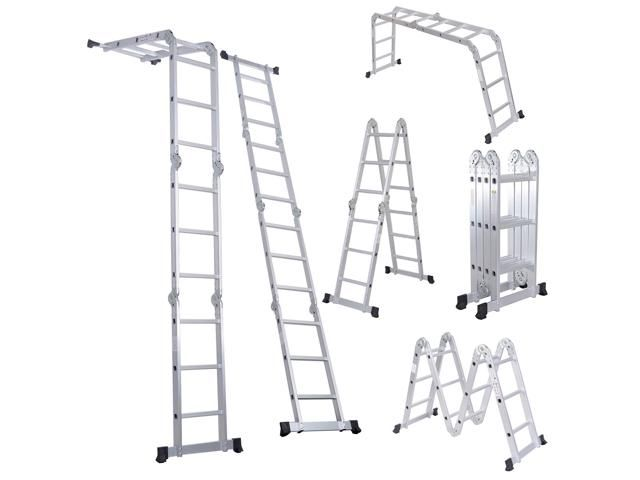12.5FT EN131 330LB Multi Purpose Step Platform Aluminum Folding Scaffold Ladder