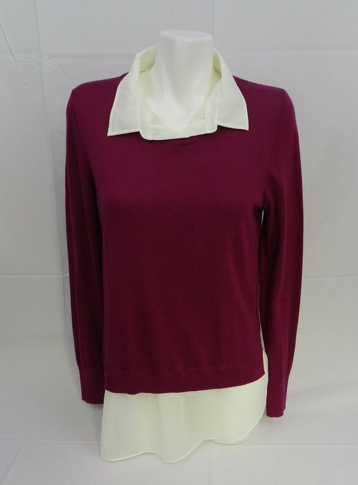 DKNY Womens Layered Look Built in Faux Shirt Sweater Magenta NWT L #DKNY #Crewneck