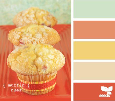 Kitchen colorsHues Colors, Muffins Hues, Design Seeds, Room Colors, Living Room, Colors Palettes, Colors Schemes, Bedrooms Colors Orange, Colors Inspiration