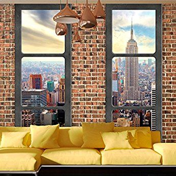 murando - Fototapete Fenster nach New York 350x245 cm - Vlies Tapete - Moderne Wanddeko - Design Tapete - Wandtapete - Wand Dekoration - New York Stadt City Skyline View Manhattan Himmel Fenster Steine Ziegel USA c-A-0066-a-c